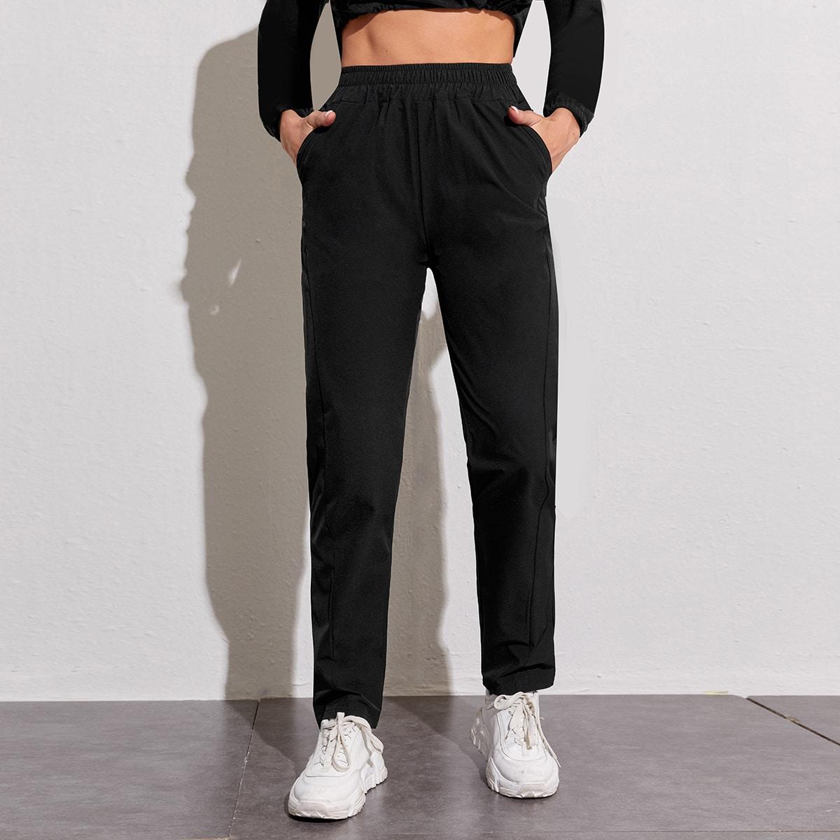 С карманами одноцветный спортивные брюки