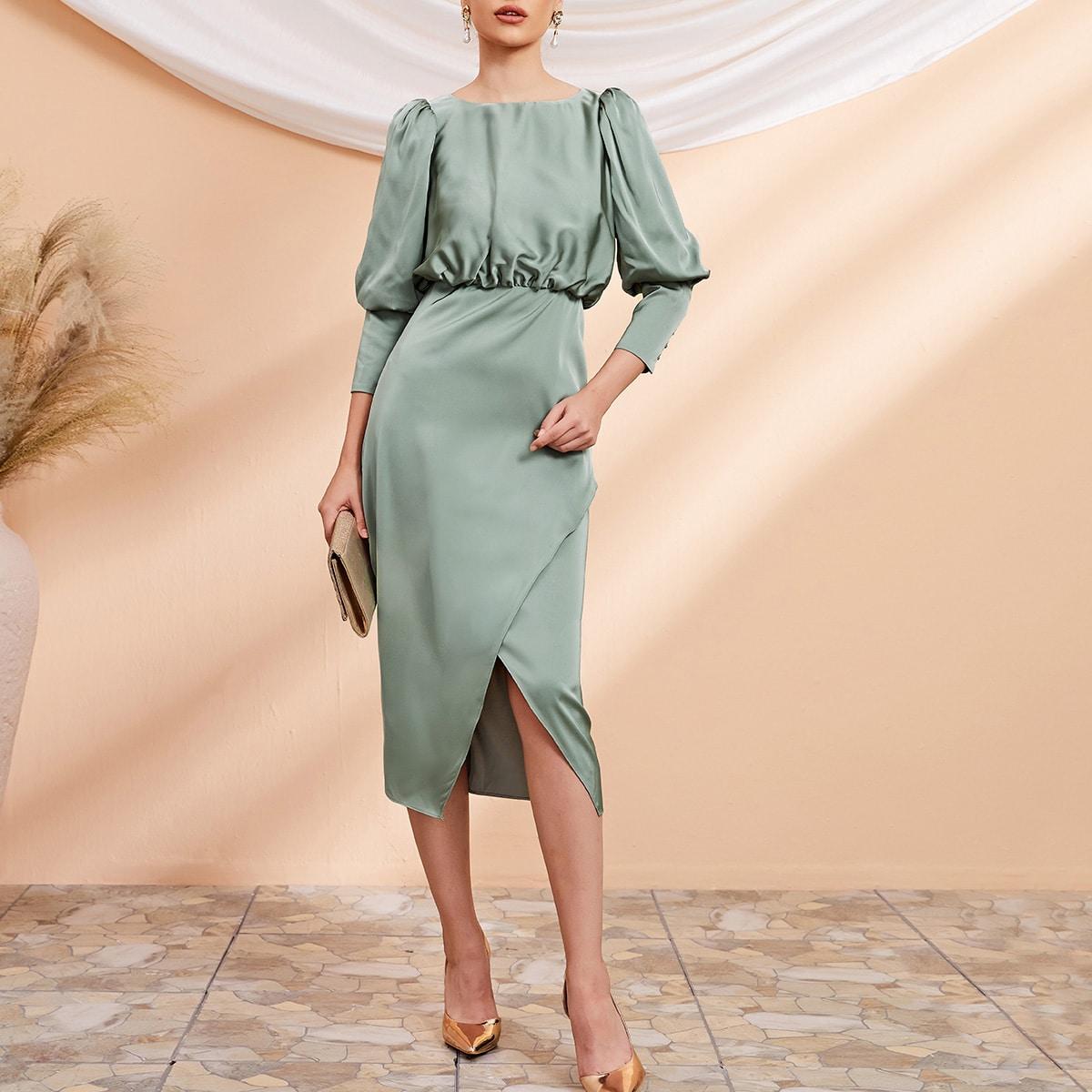 Gigot Sleeve Wrap Hem Satin Dress, SHEIN  - buy with discount