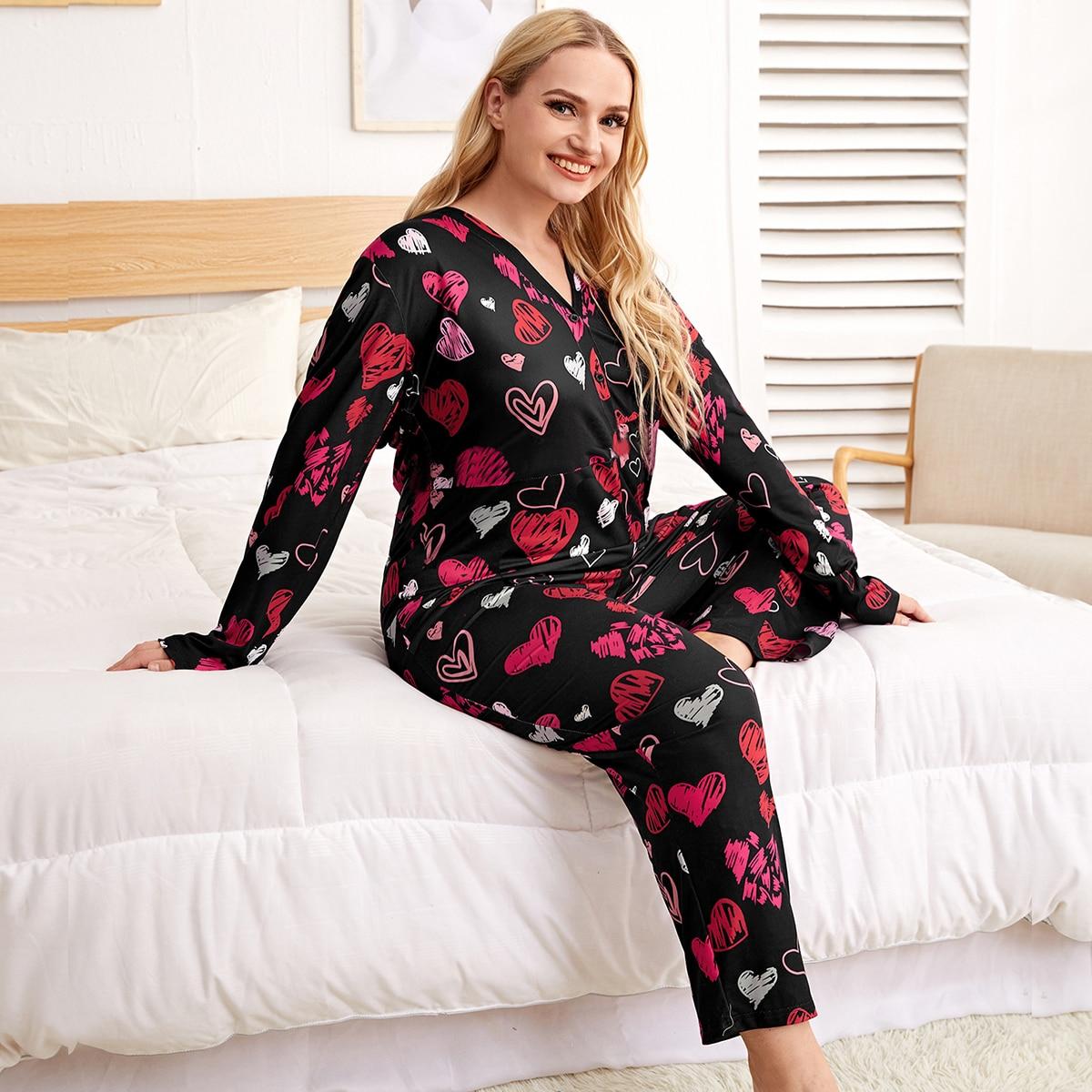 Пуговица сердечко милый пижамный комбинезон размера плюс