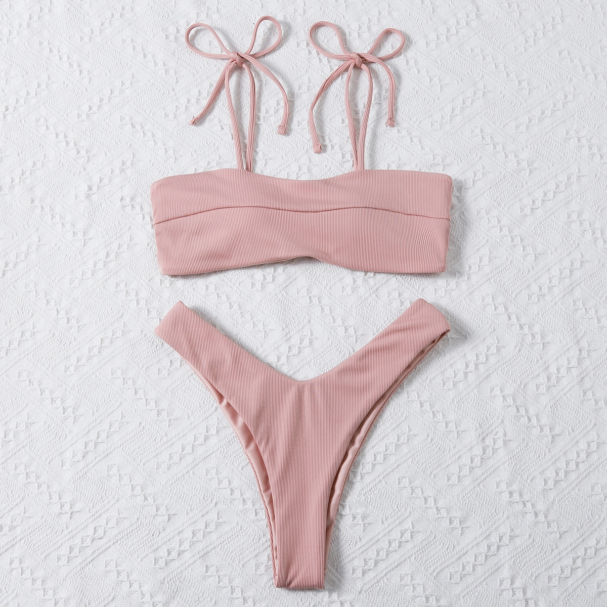 Ribbed Tie Shoulder Bikini Swimsuit, SHEIN  - buy with discount