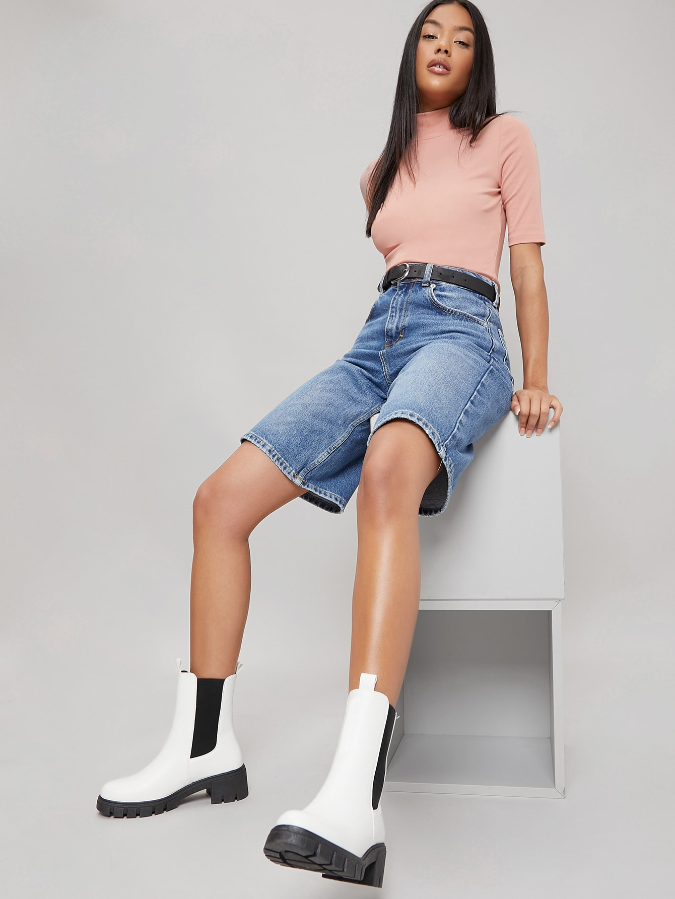Vegan Leather Low Heel Ankle Chelsea Boots