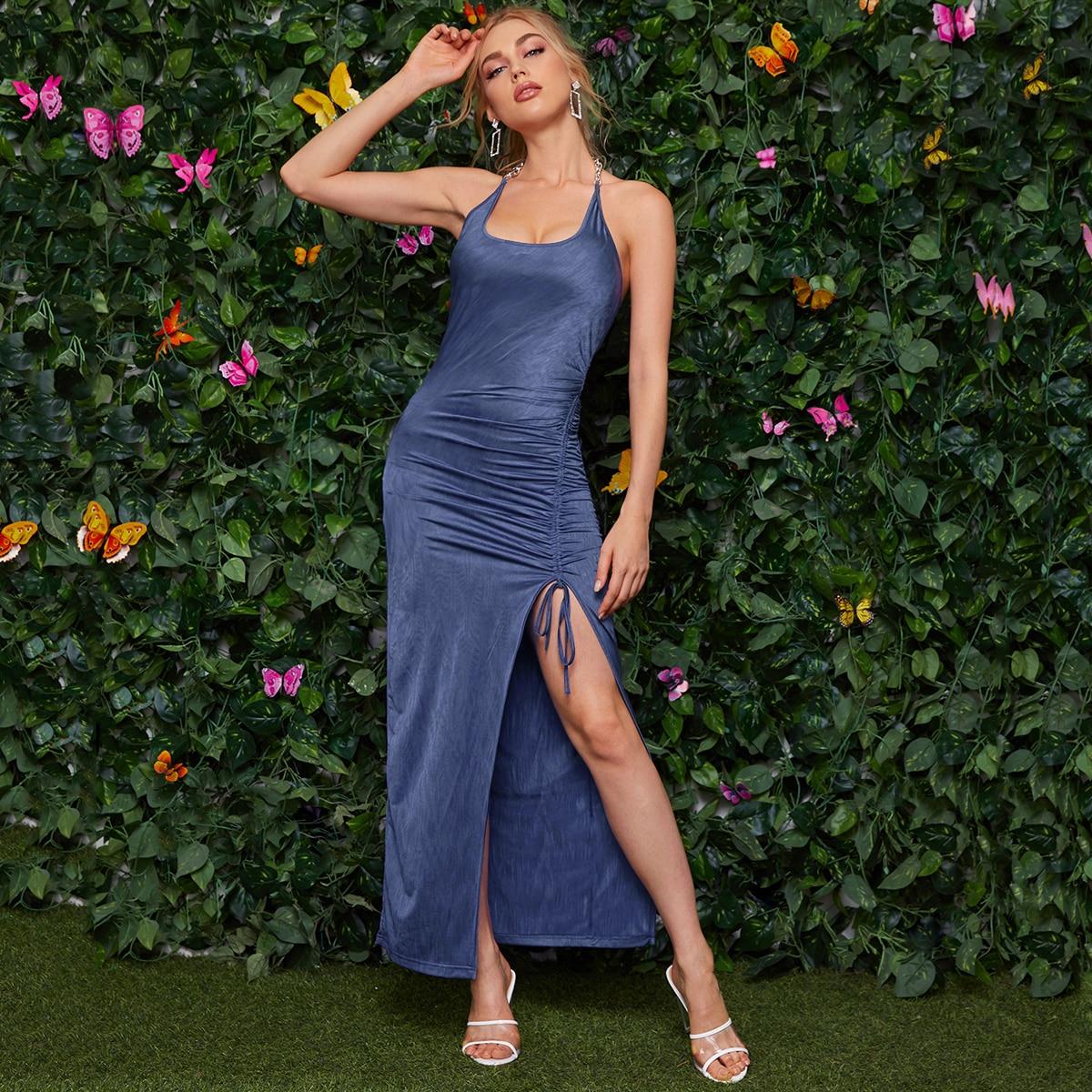 Платье на кулиске с разрезом и открытой спиной