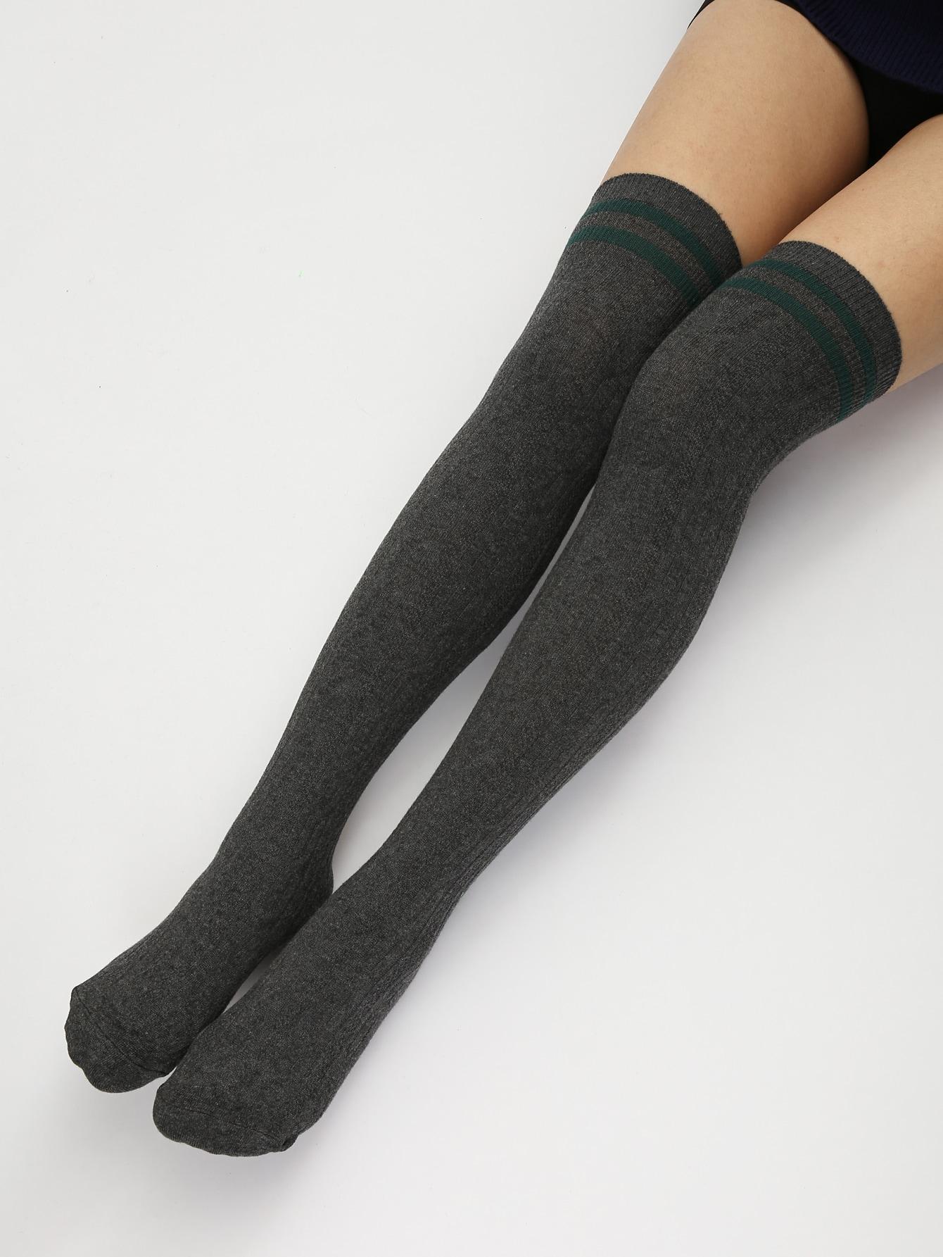 Striped Pattern Over The Knee Socks thumbnail