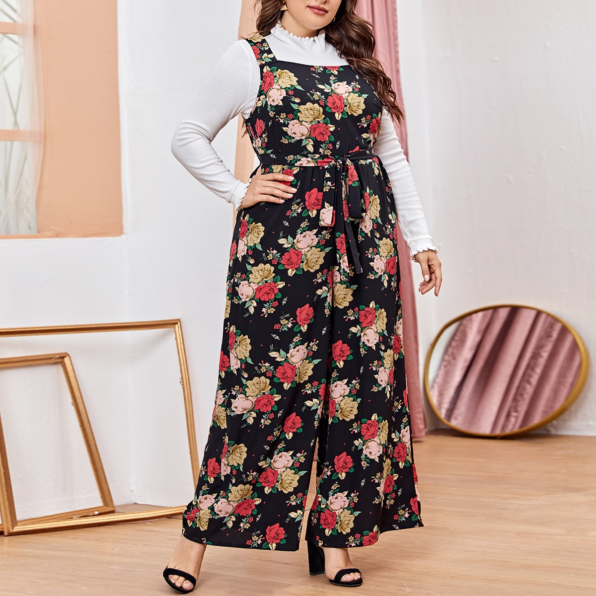 Plus Wide Leg Belted Floral Jumpsuit Without Top