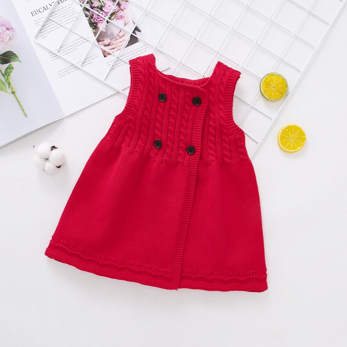 На пуговицах одноцветный повседневный трикотажные платья для девочек