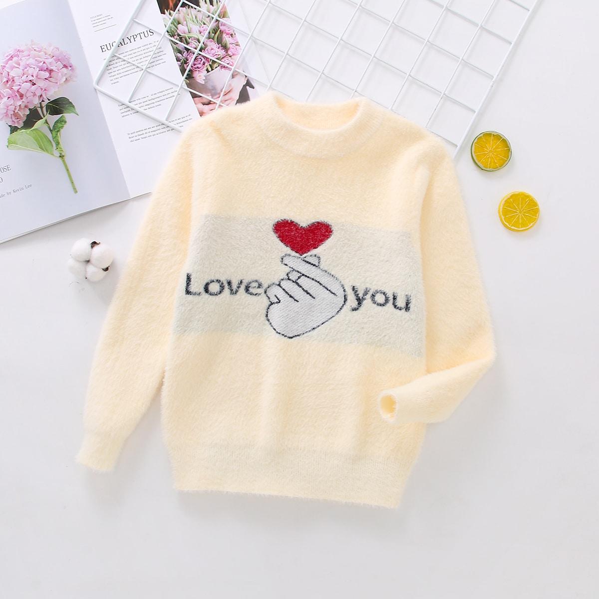Лозунг повседневный свитера для девочек
