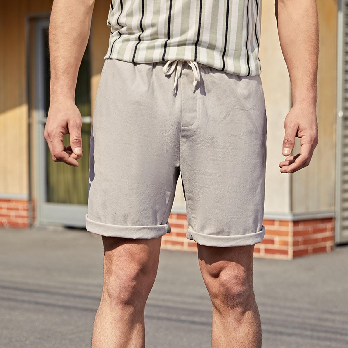Карман одноцветный повседневный мужские шорты