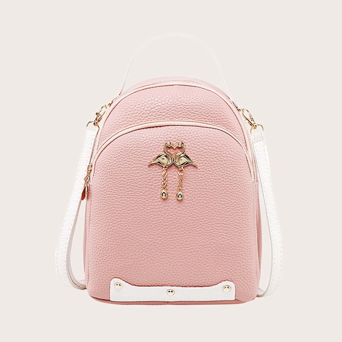 Metal Swan Detail Backpack
