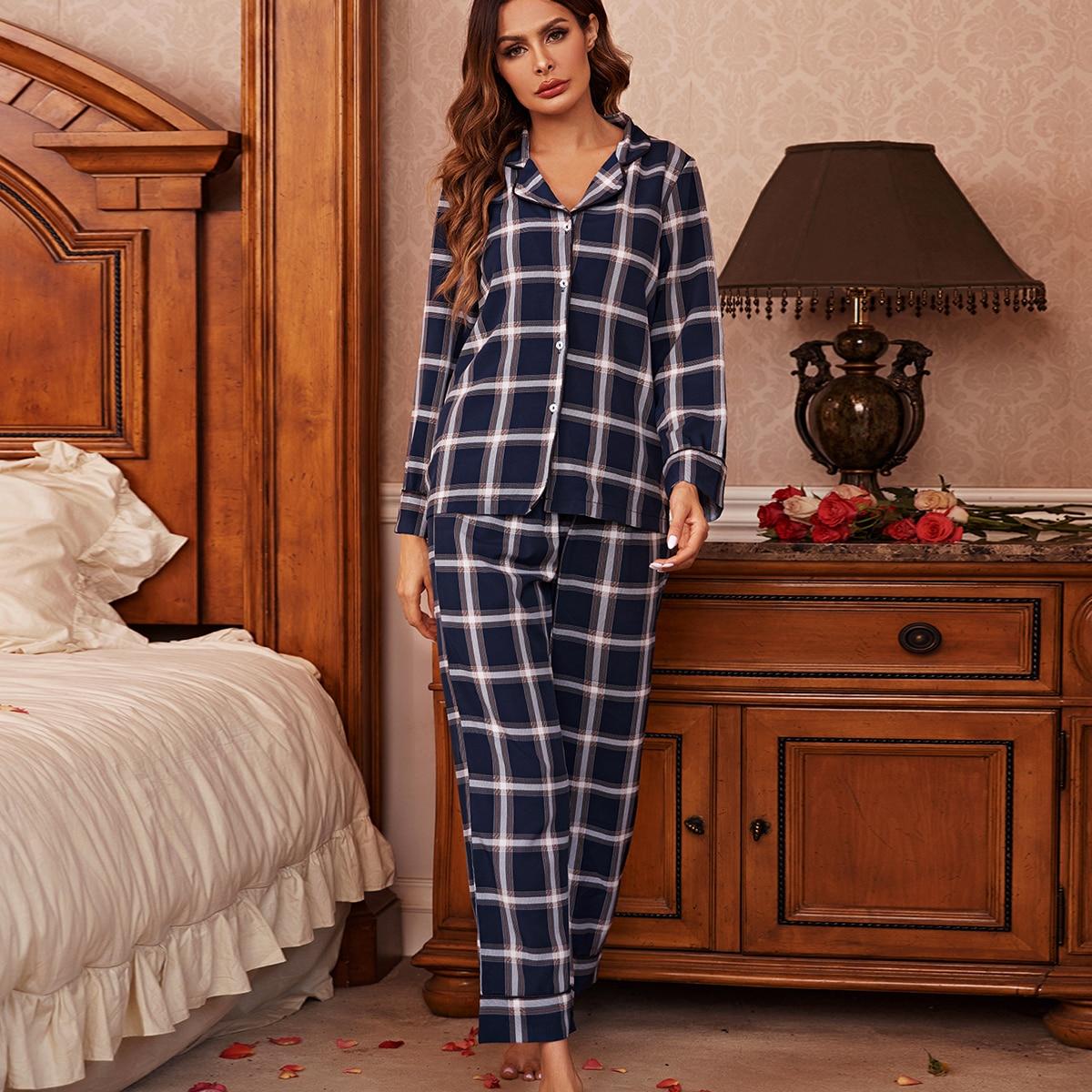 Пуговица Клетка Элегантный Комплект пижамы