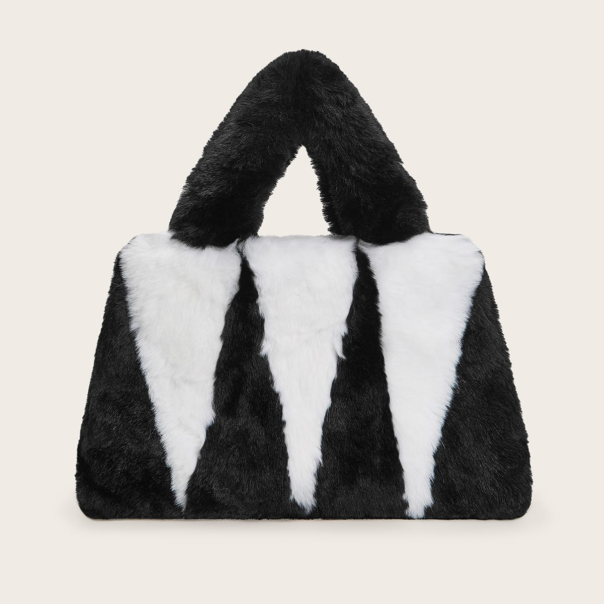 Двухцветная плюшевая сумка-сэтчел