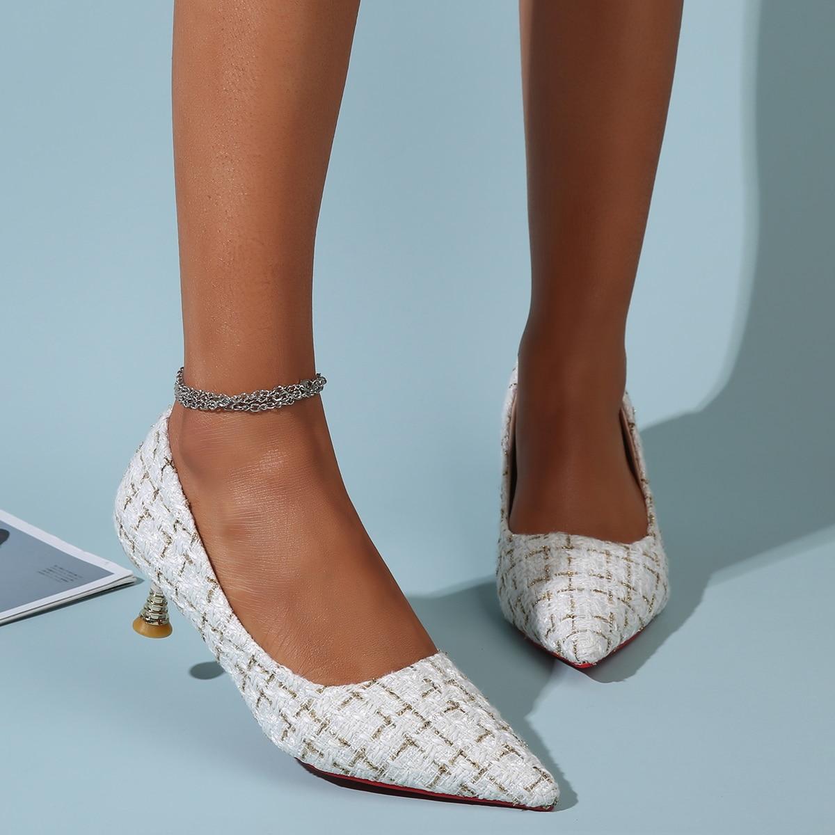 Остроконечные твидовые туфли на среднем каблуке