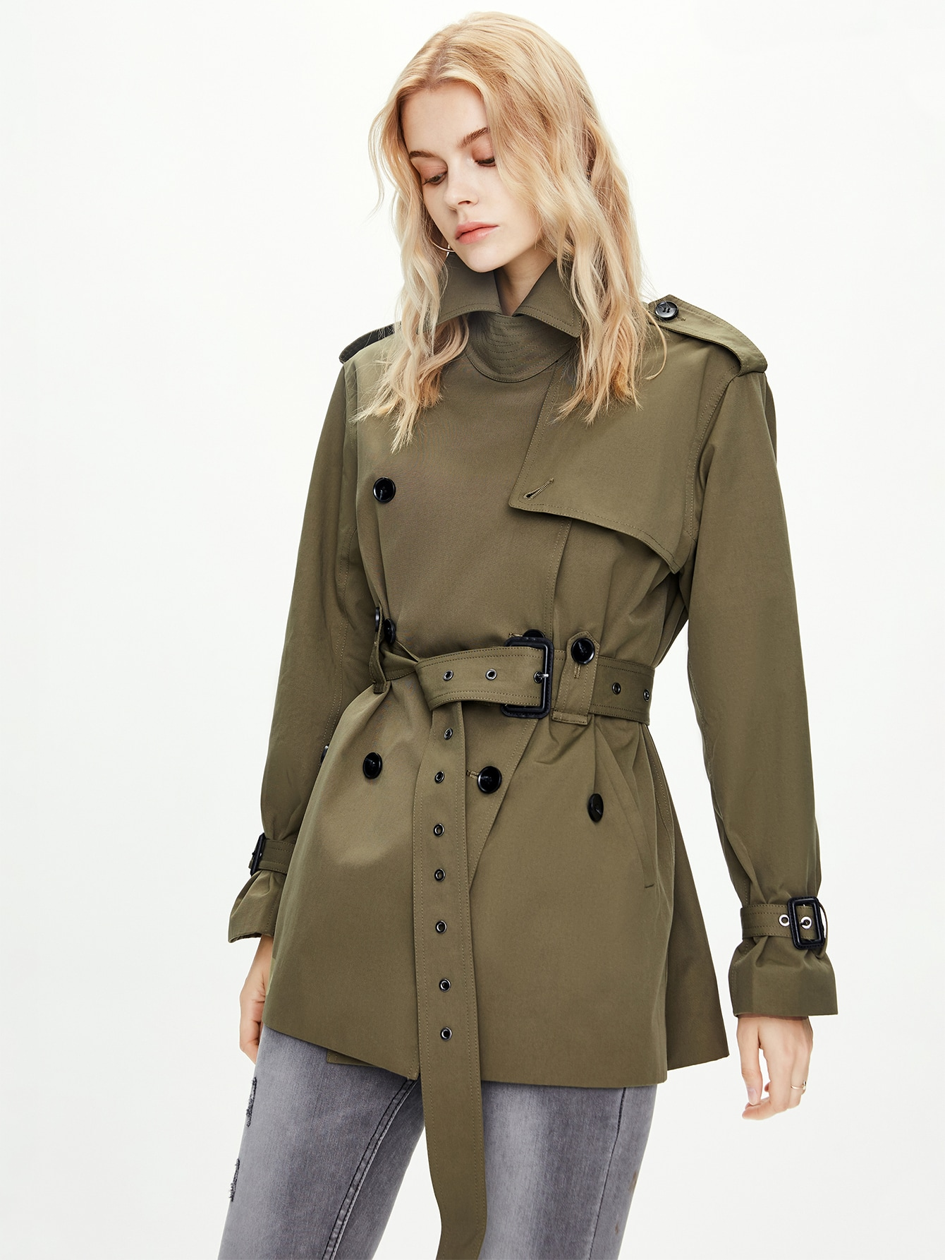 Double Button Belted Trench Coat thumbnail