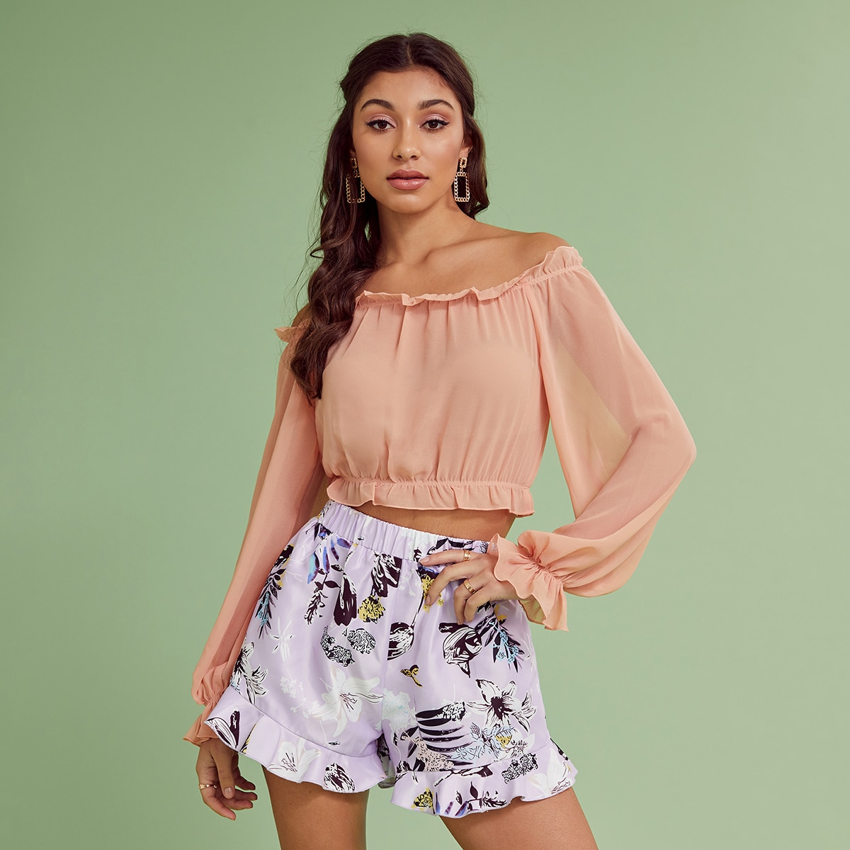 с оборками Одноцветный милый Блузы по цене 427