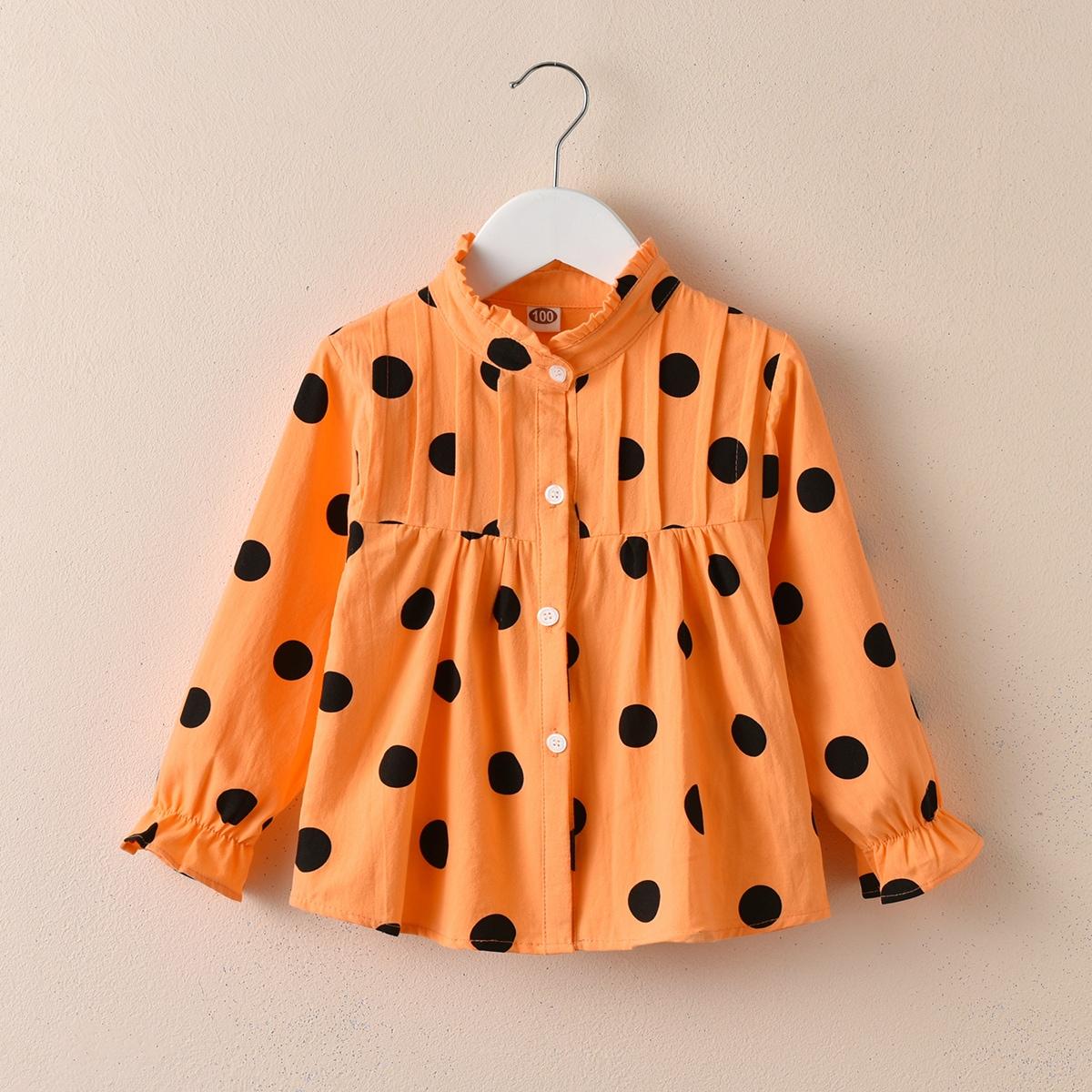 С оборками в горошёк милый блузы для девочек