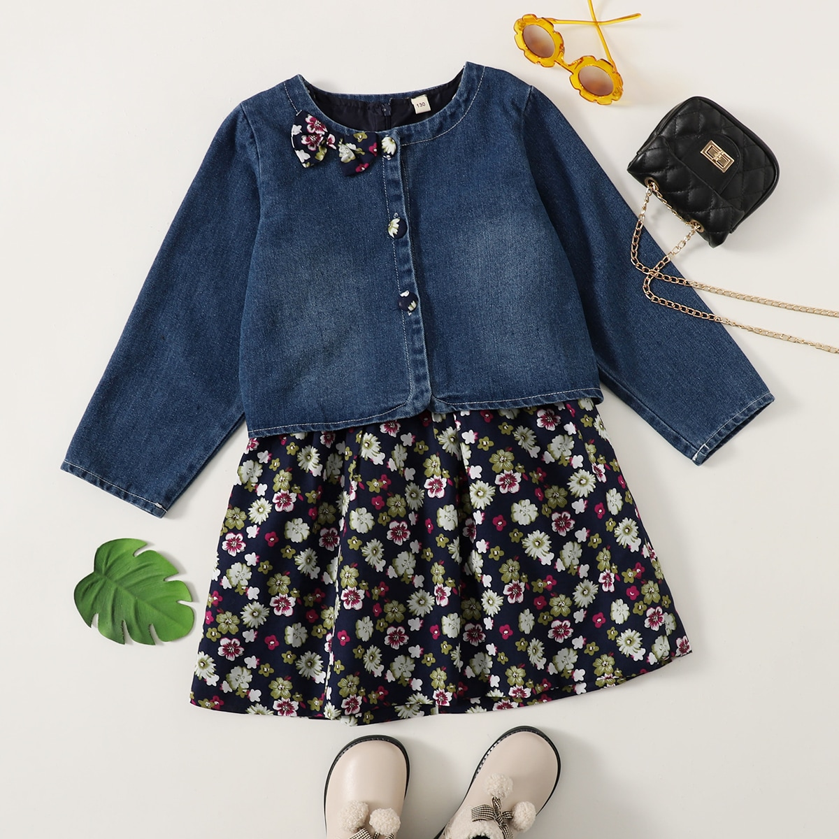 SHEIN / Girls Floral Print Dress With Bow Front Denim Jacket