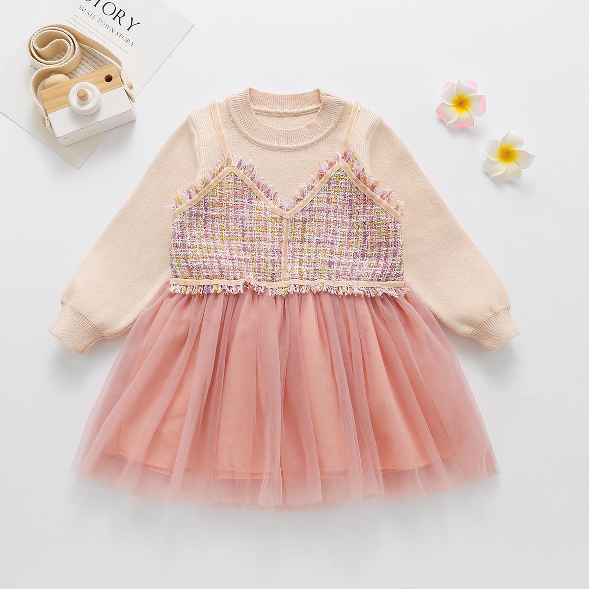 Контрастная сетка контрастный цвет повседневный трикотажные платья для девочек