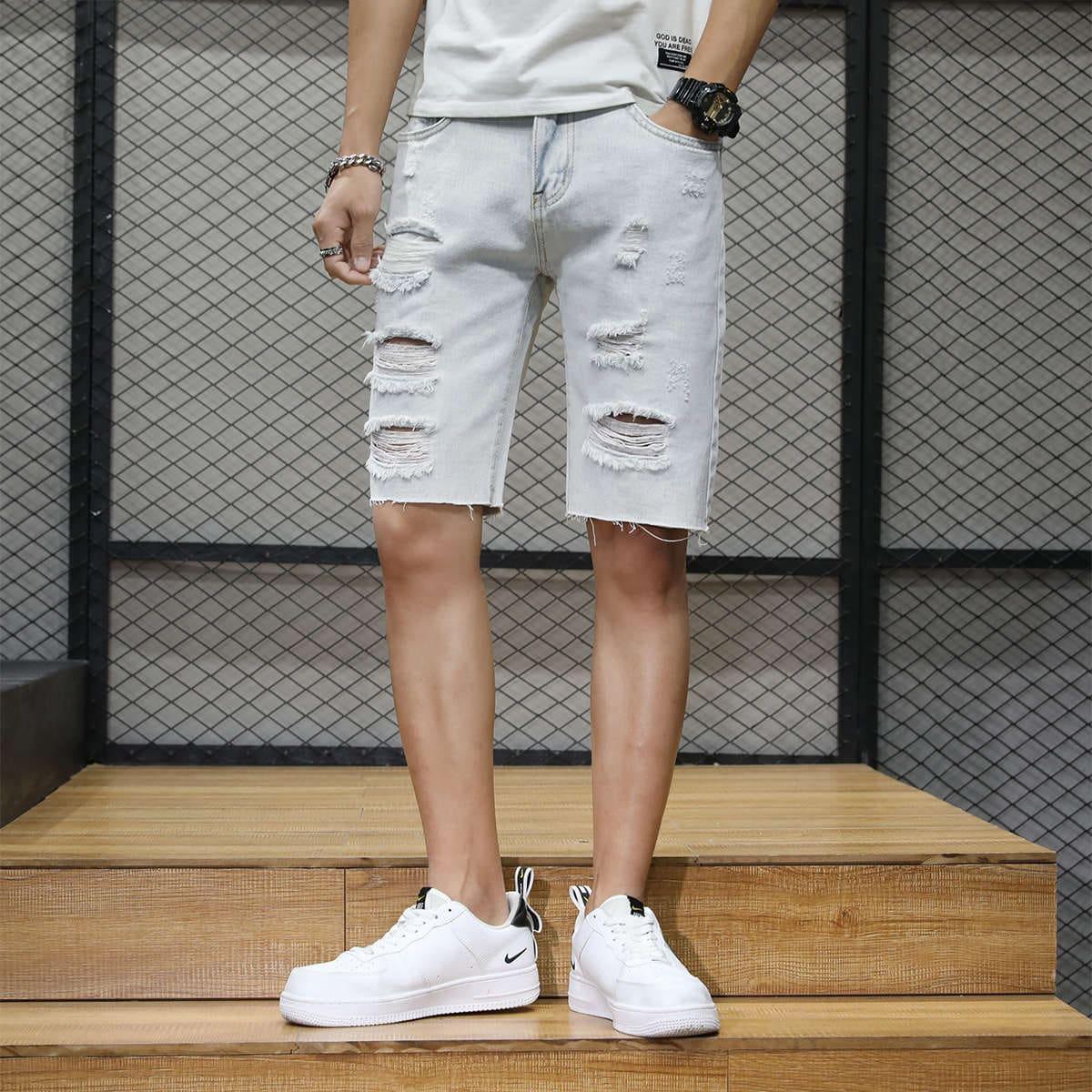 Пугавица Одноцветный Мужские джинсовые шорты