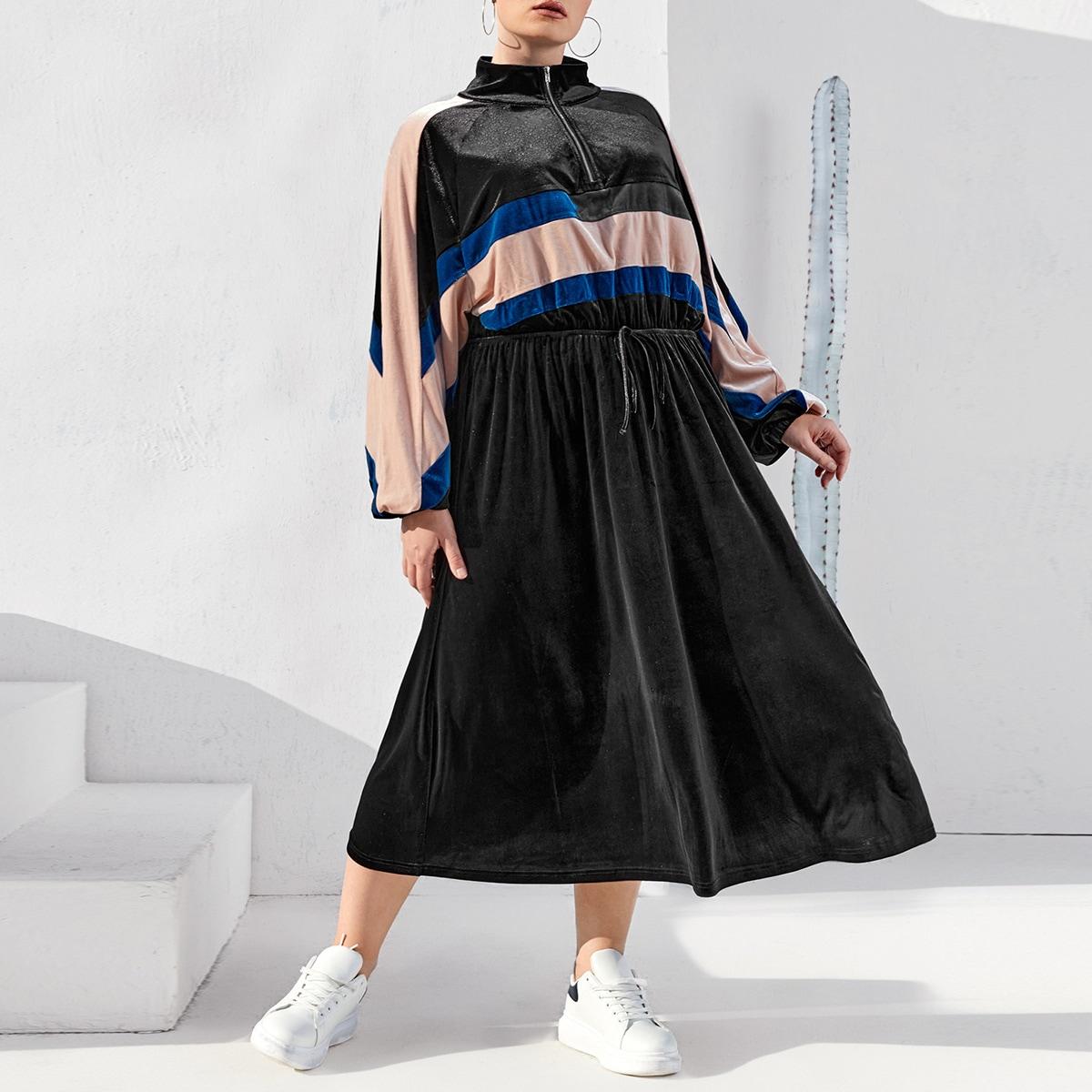Застежка Контрастный цвет Спортивный Платья размер плюс