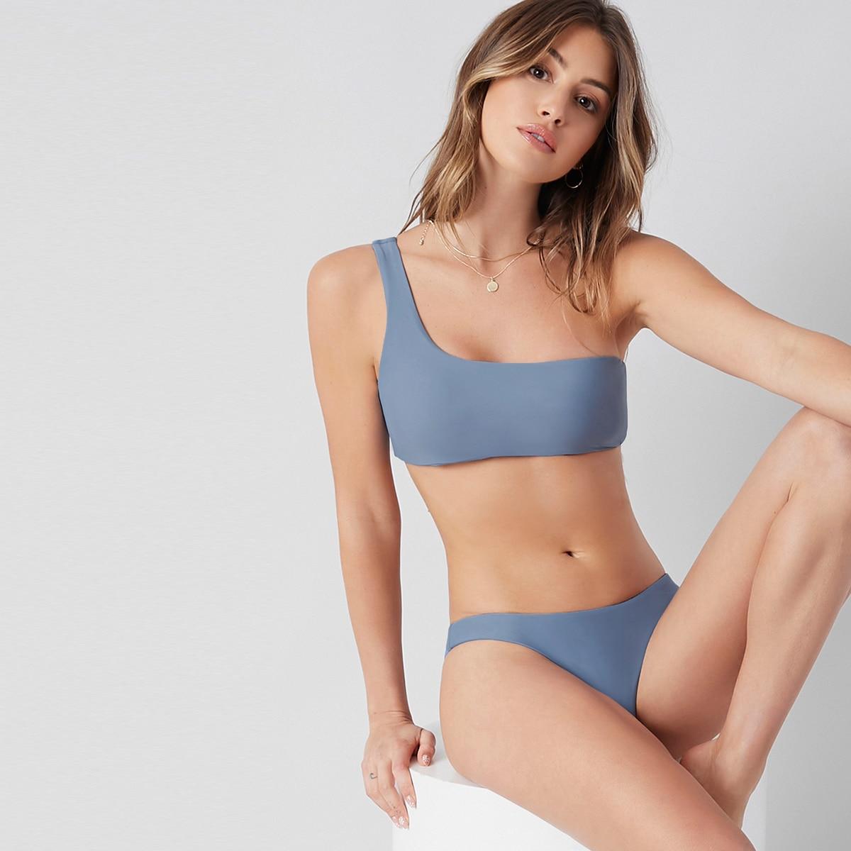 Plain One Shoulder Bikini Swimsuit