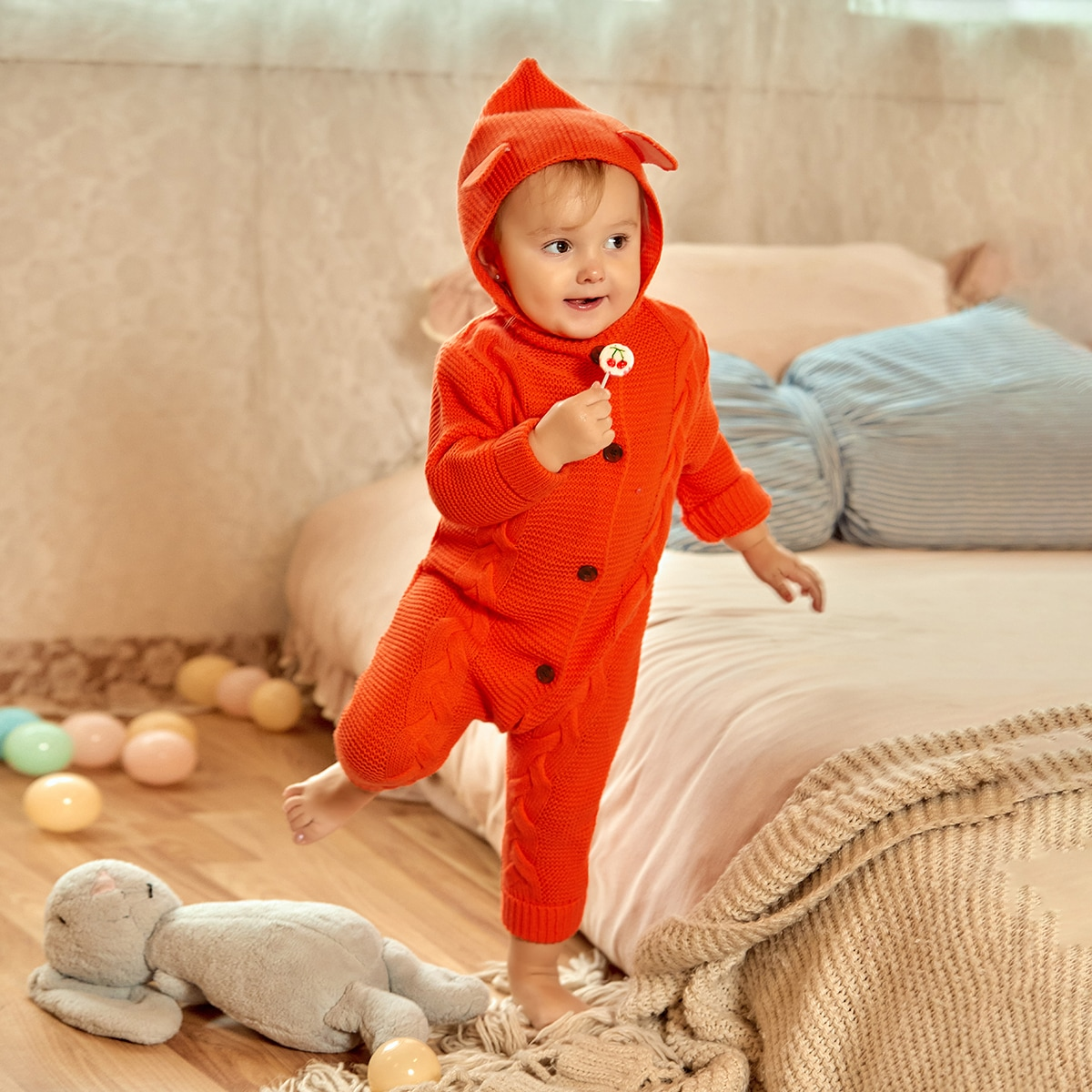 Baby Girl Button Front 3D Ear Hooded Cable Knit Jumpsuit