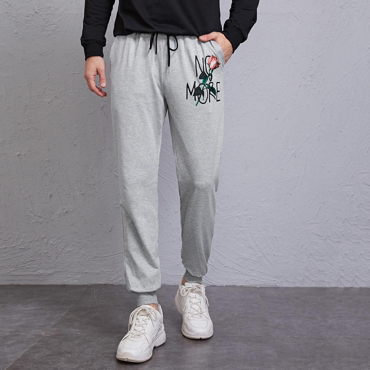 Мужские спортивные брюки на кулиске с цветочным принтом