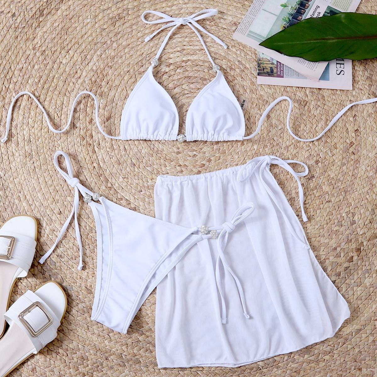 3 пакета бикини с треугольными чашечками и пляжная юбка