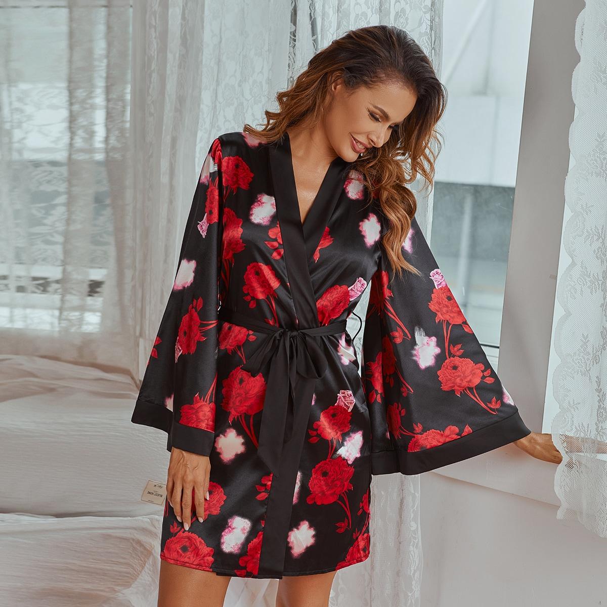 с поясом Со цветочками Элегантный Ночной халат