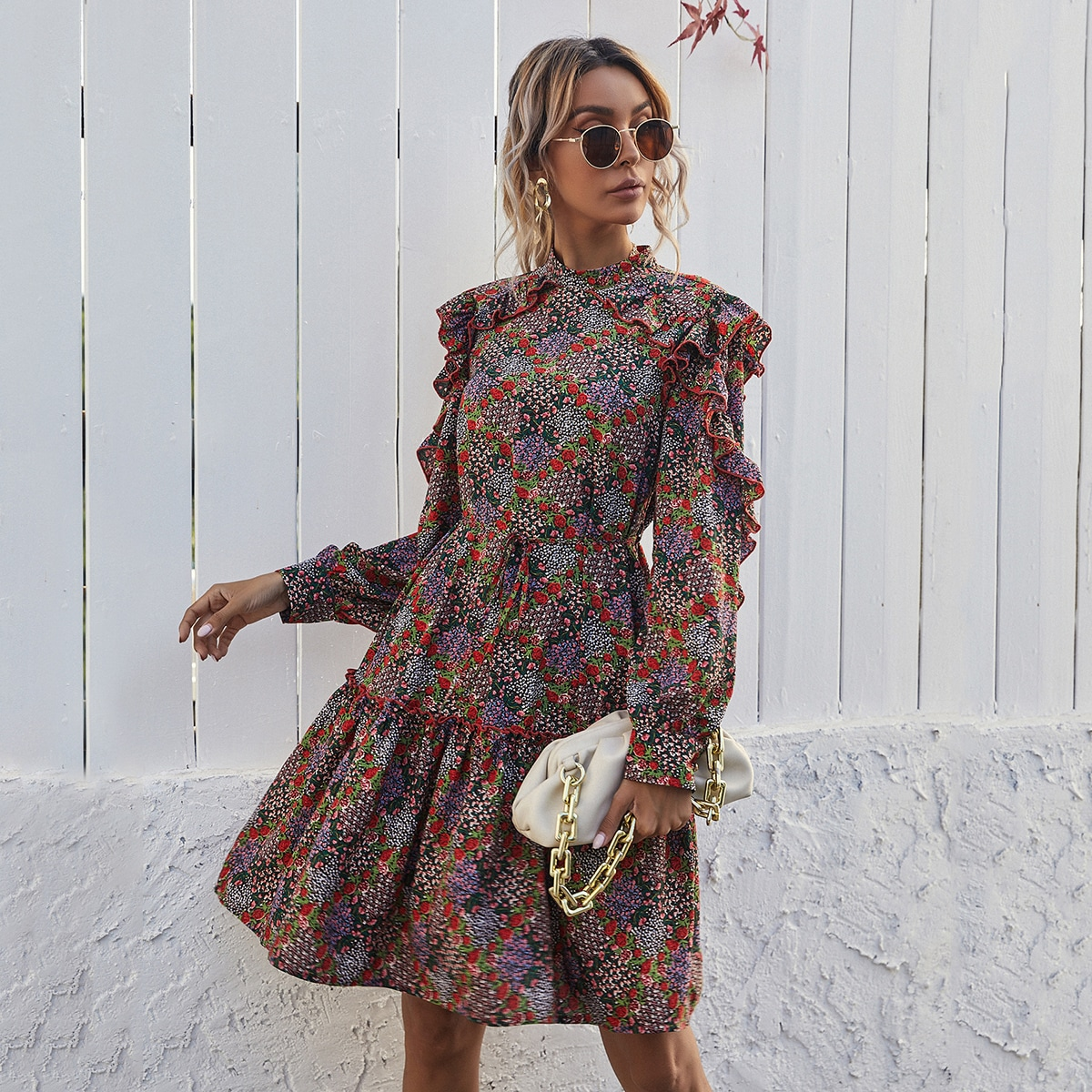 SHEIN / Ditsy Floral Print Ruffle Hem Belted A-line Dress
