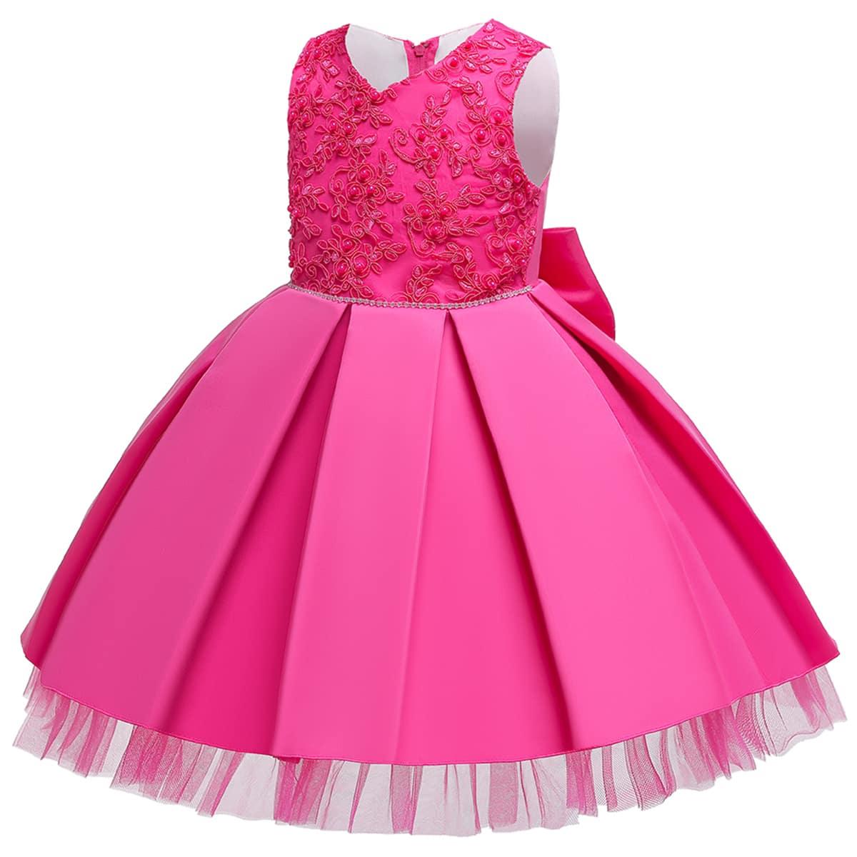 с бантом Одноцветный Очаровательный нарядное платье для малышей по цене 1 630