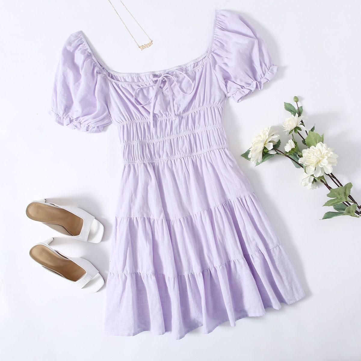 Платье размера плюс с квадратным воротником и пышными рукавами