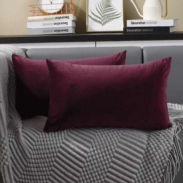 1pc Plain Lumbar Pillow Cover Without Filler, Burgundy