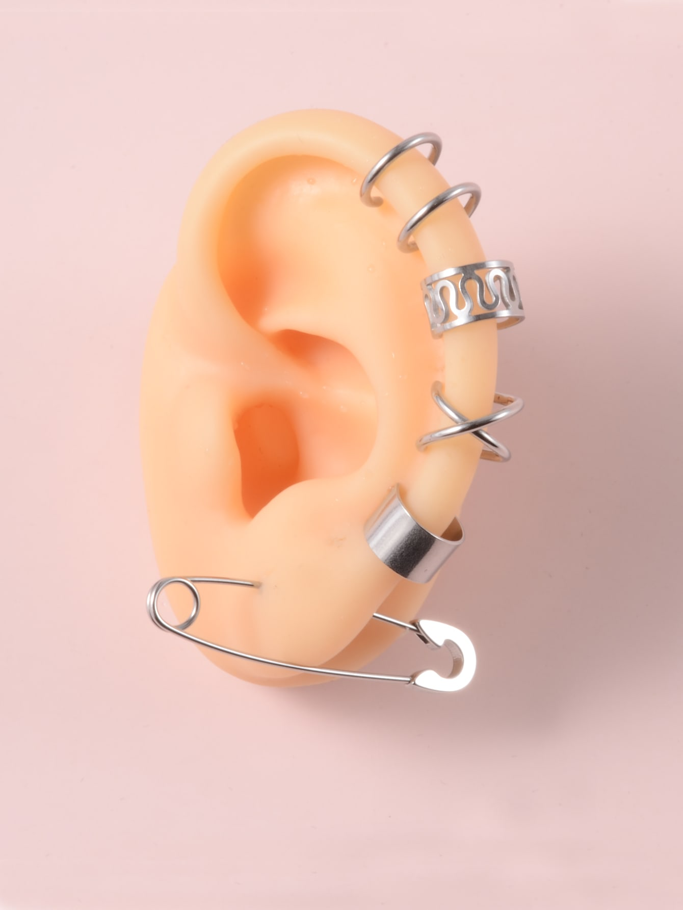 4pcs Hollow Out Ear Cuff & 1pc Safety Pin Design Earring thumbnail