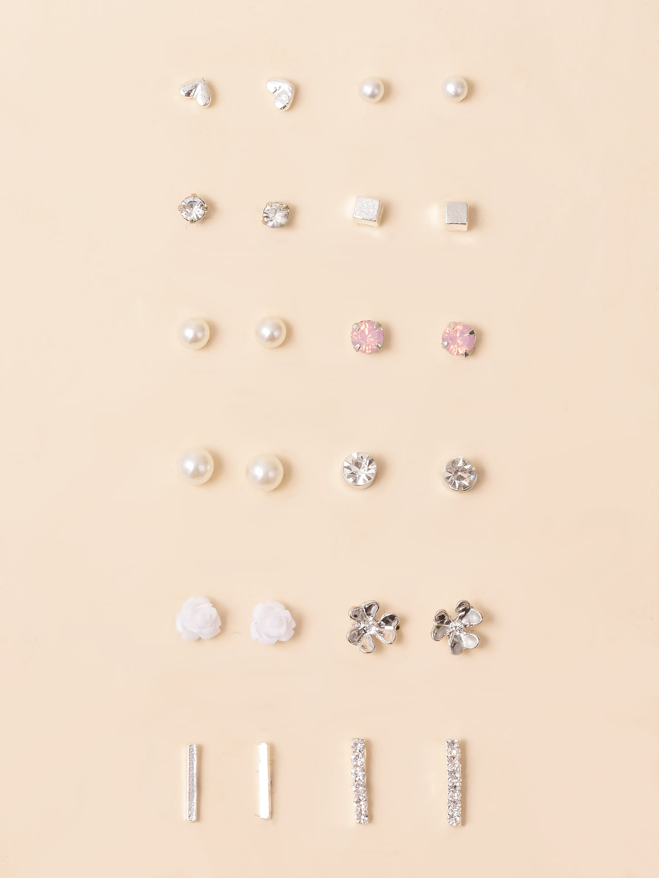 12pairs Faux Pearl & Rhinestone Decor Stud Earrings thumbnail