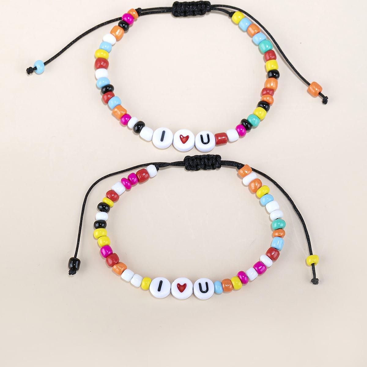 2 Stücke Armband mit Buchstaben Dekor
