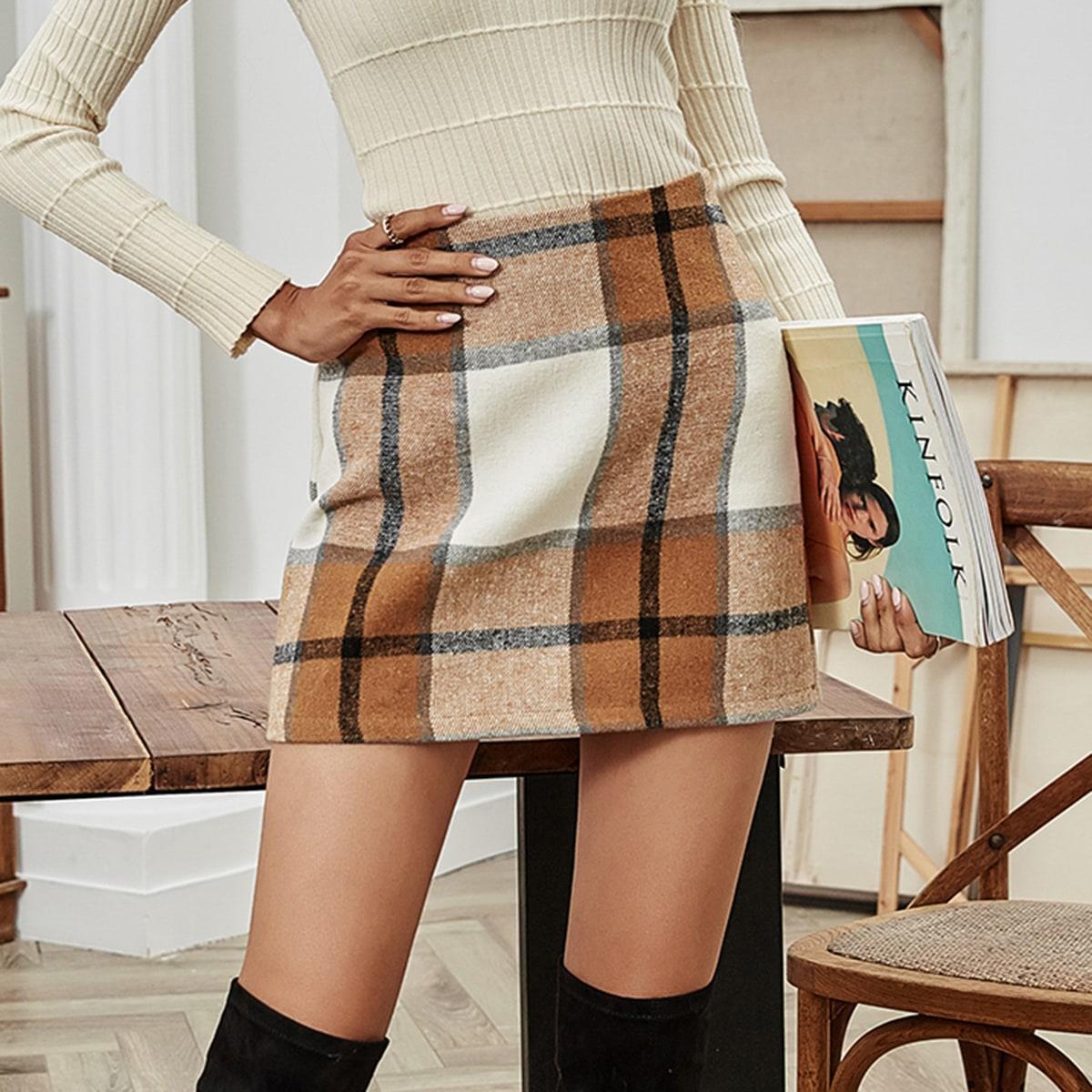 Falda con cremallera lateral de cuadros