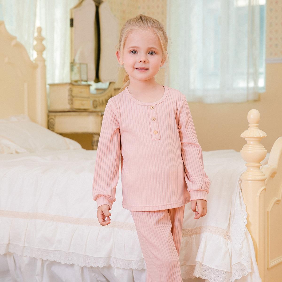 Вязаная пижама в рубчик для девочек