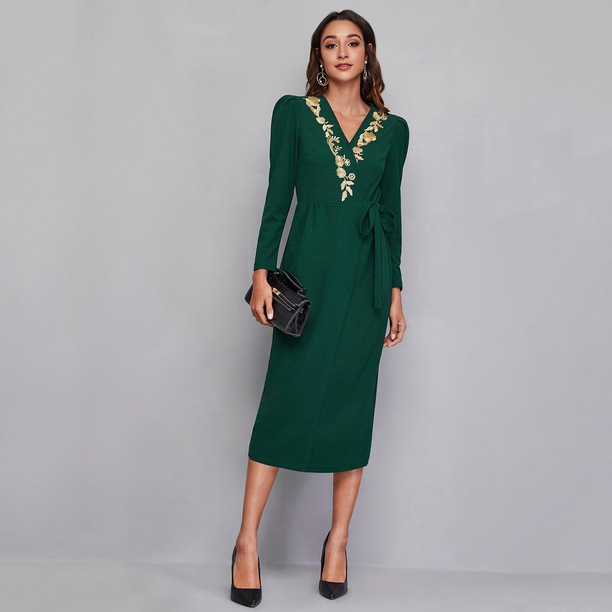 с вышивкой Цветочный принт Элегантный Платье