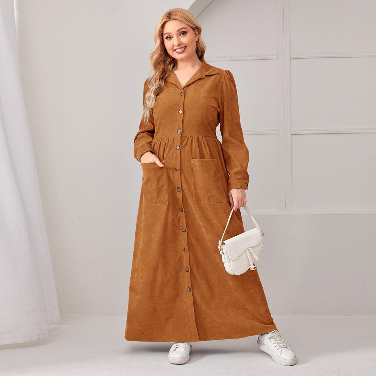 Вельветовое платье-рубашка размера плюс с карманом