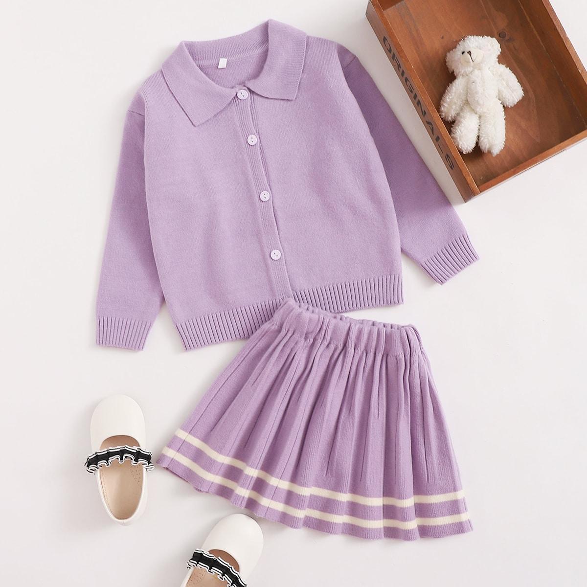 Плиссированное полосатый институтский трикотажные комплекты для девочек