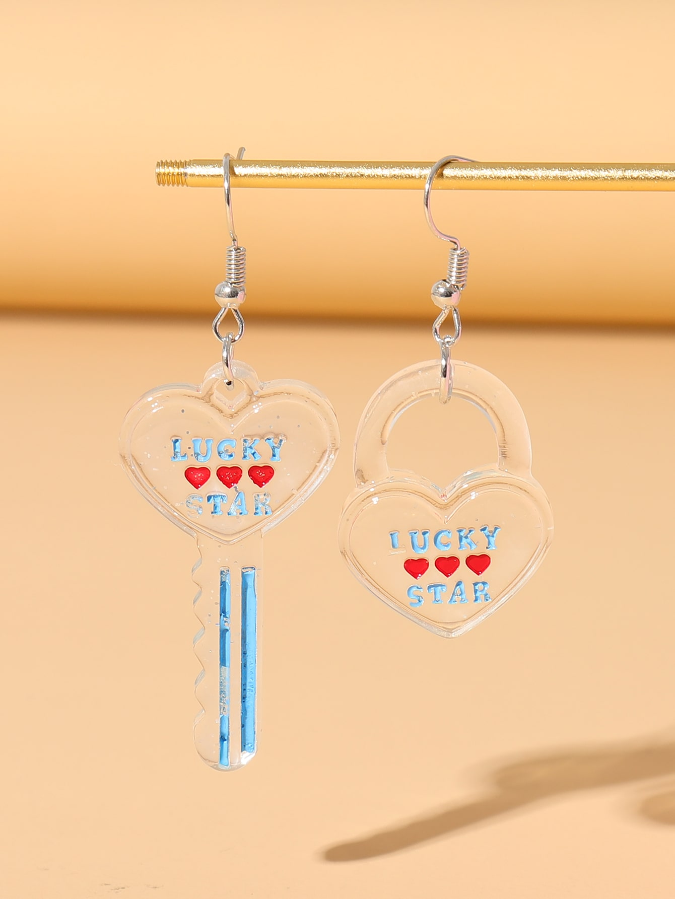 Letter Engraved Lock Mismatched Drop Earrings thumbnail