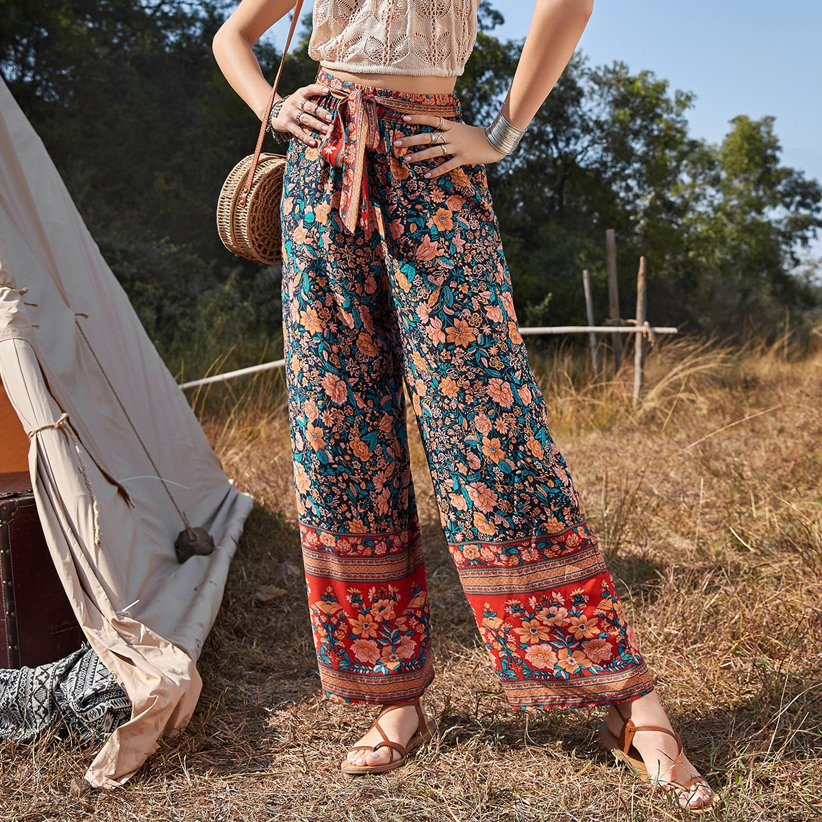 Floral Belted Wide Leg Pants, SHEIN  - buy with discount