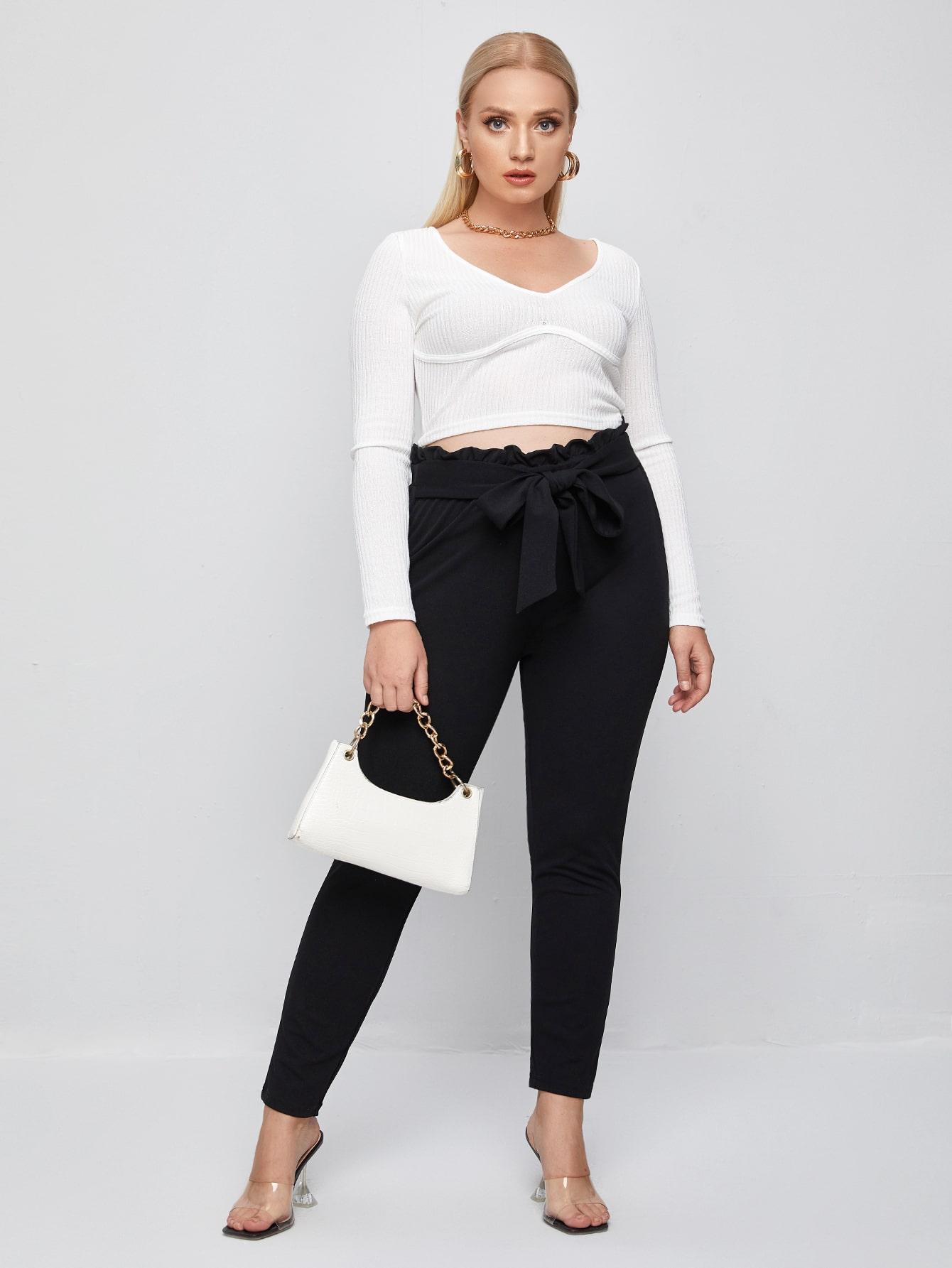 Plus Paperbag Waist Tie Front Pants thumbnail