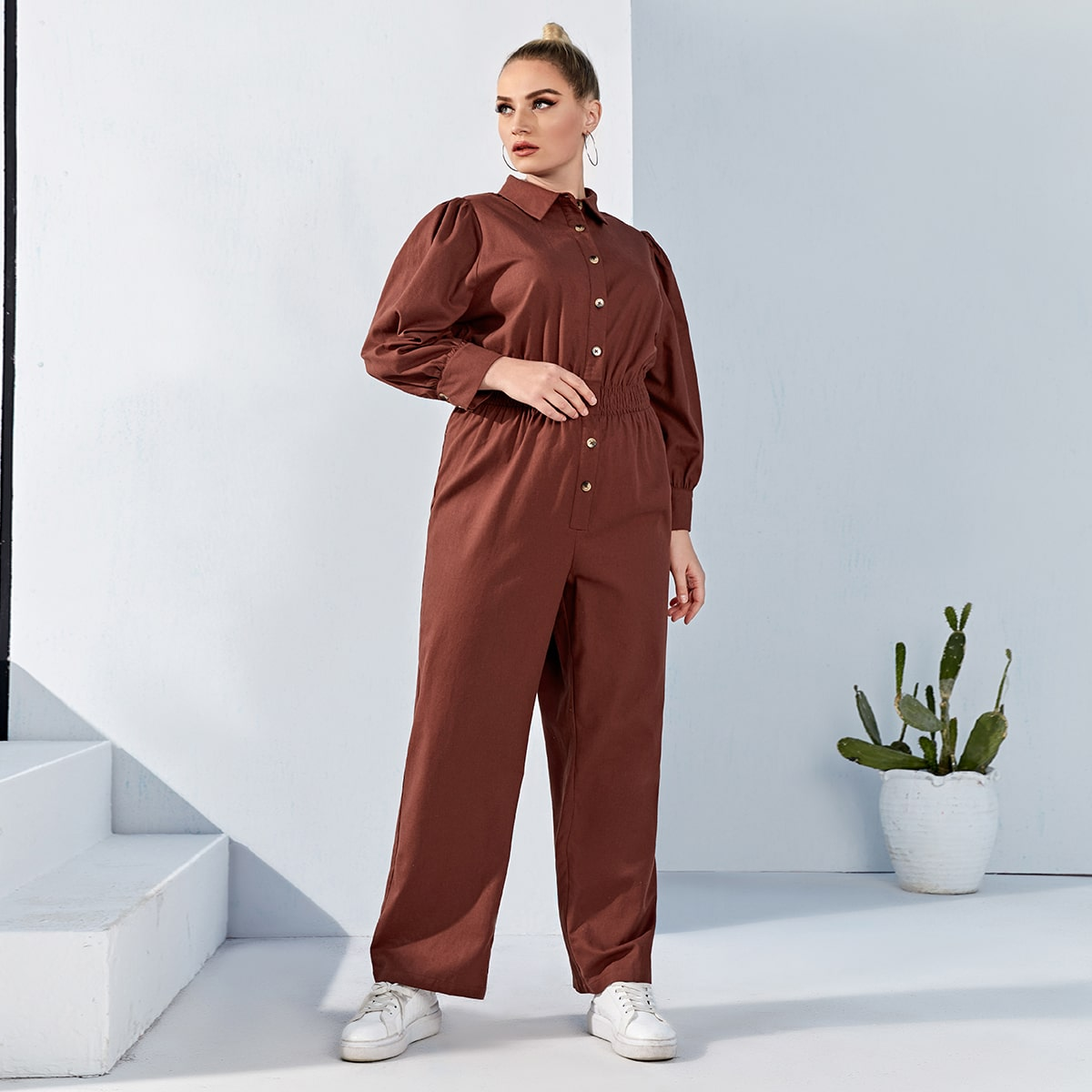 Plus Shirred Panel Shirt Jumpsuit, SHEIN  - buy with discount