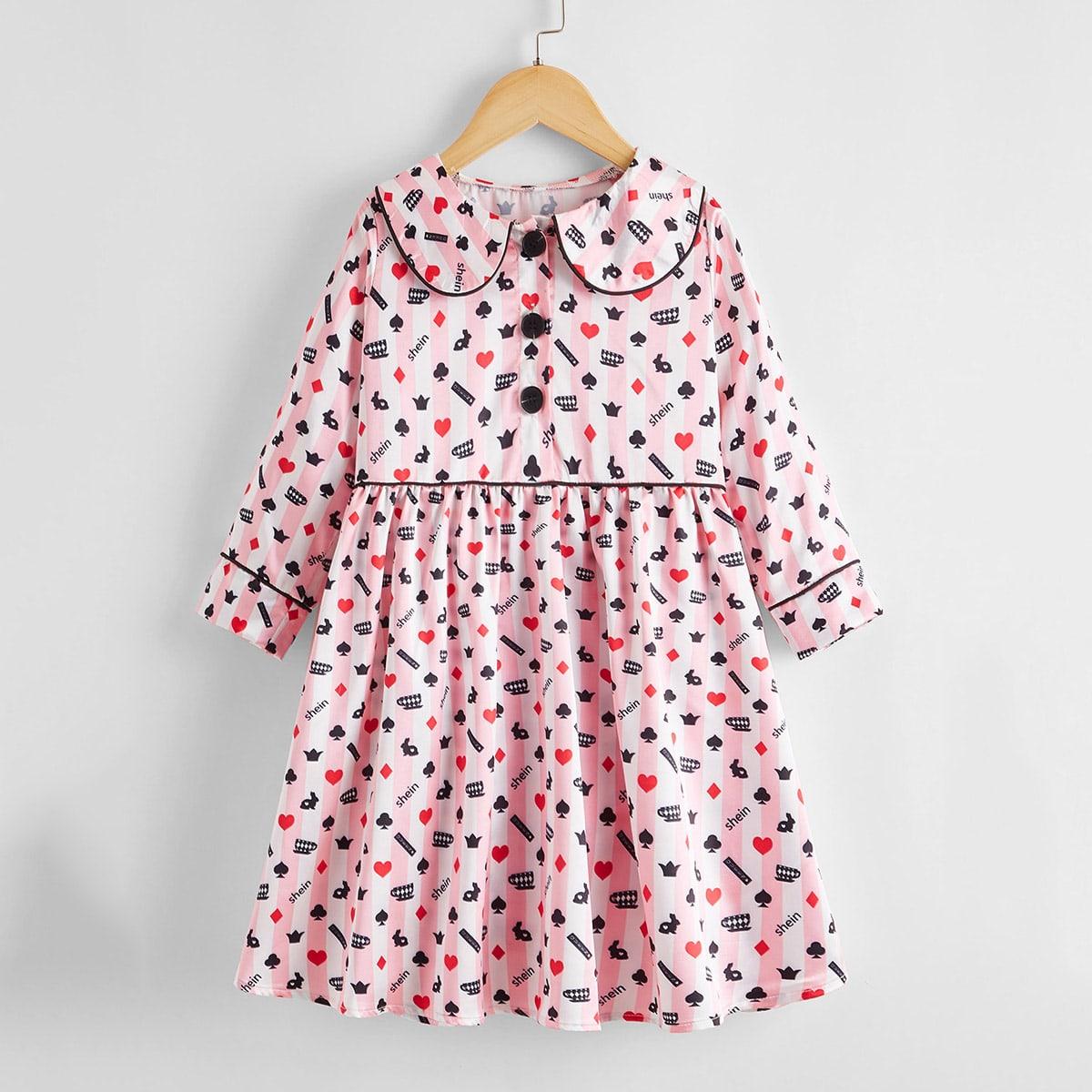 Атласная ночная рубашка с принтом для девочек