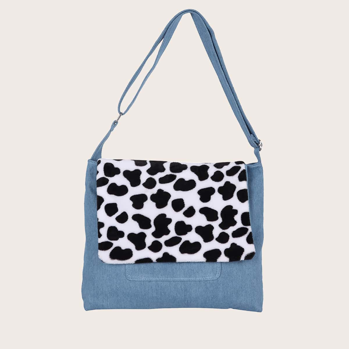 Джинсовая сумка на плечо с далматинским узором