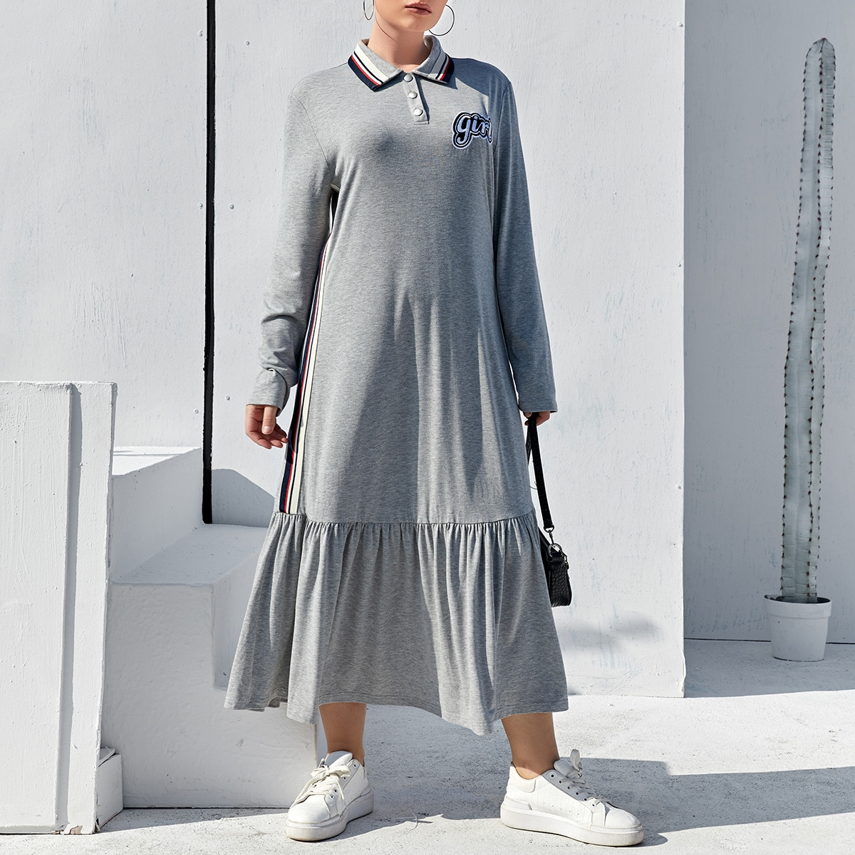 С оборками Полосатый Спортивный Платья размер плюс