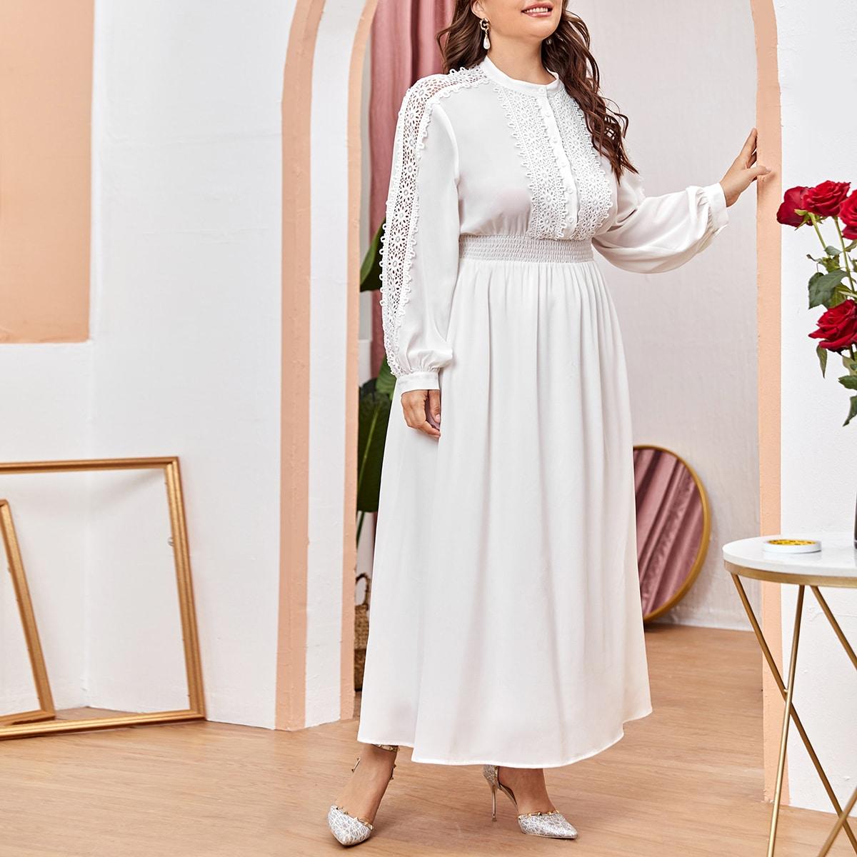 Контрастные кружева Одноцветный Элегантный Платья размер плюс