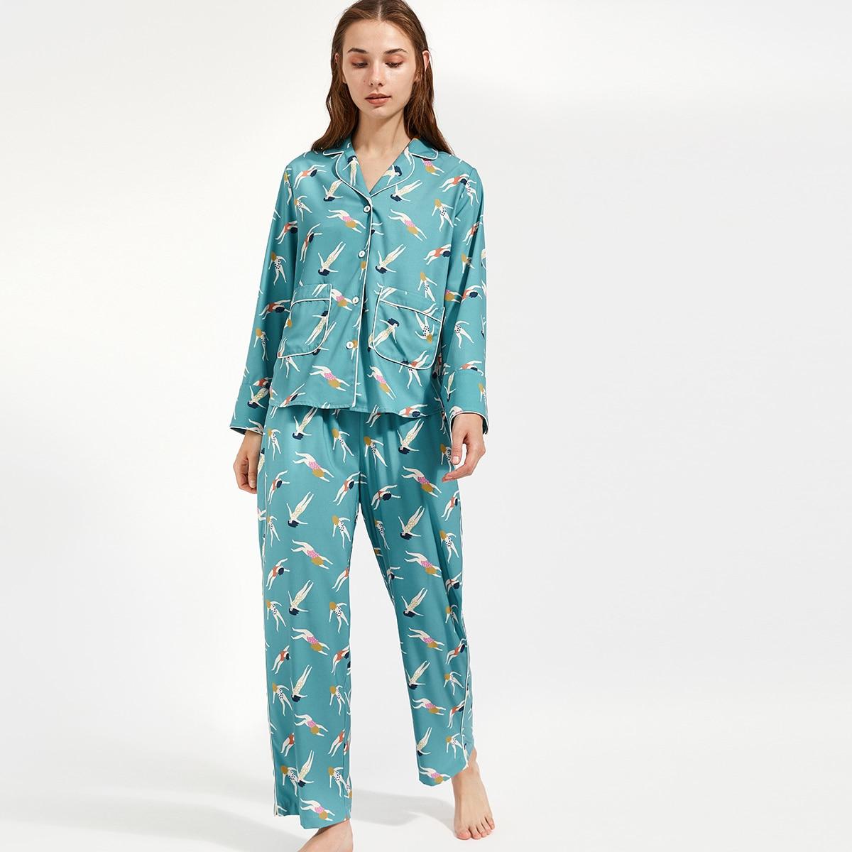 PJM пижама с карманом и графическим принтом