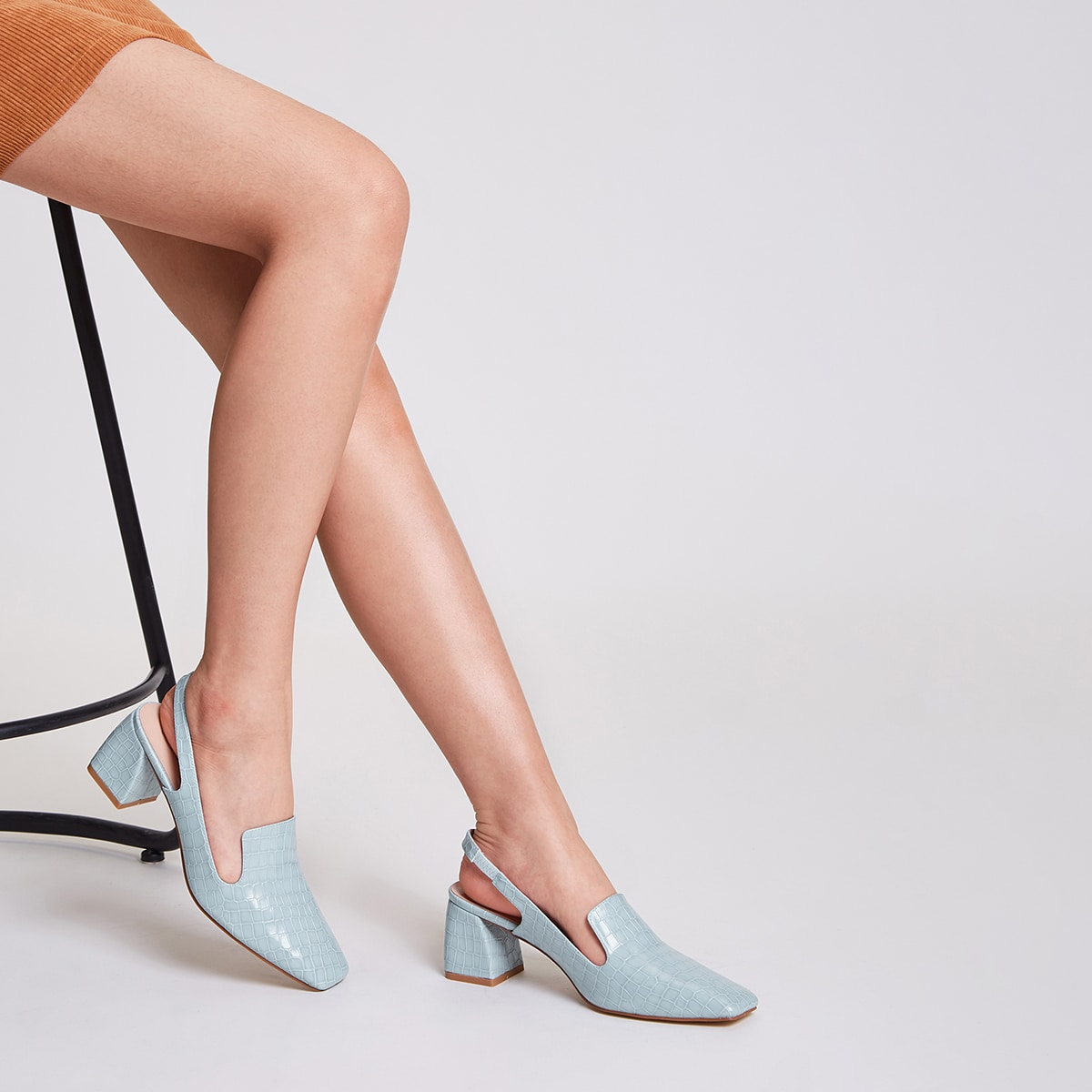 Square Toe Slingback Chunky Pumps, SHEIN  - buy with discount