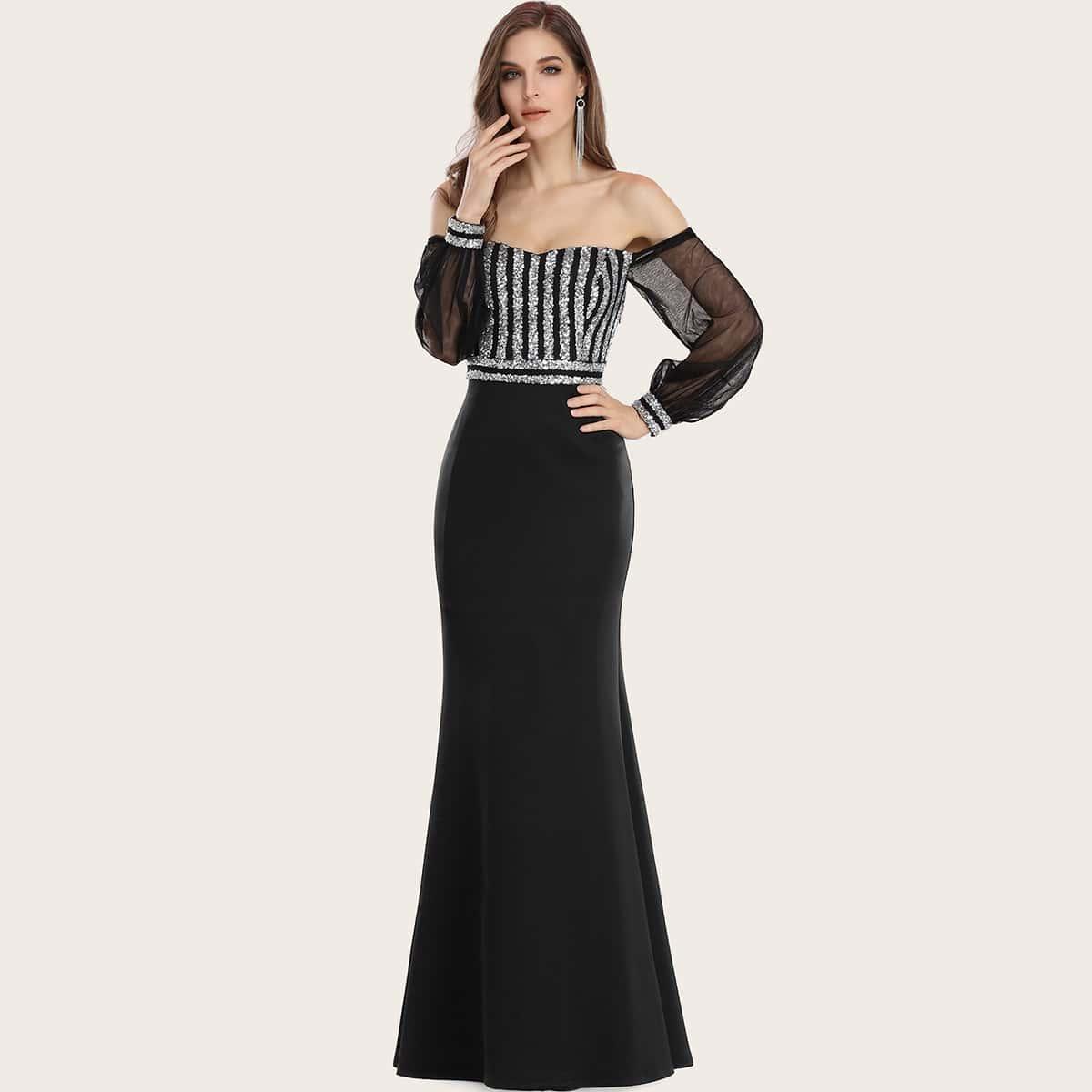 EverPretty Платье с открытыми плечами, прозрачным рукавом и блестками